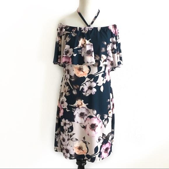 VENUS Dresses & Skirts - Venus off shoulder dress floral teal large